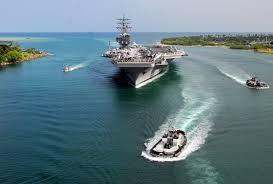 u s department of defense photo essay u s marines and u s navy sailors man the rails aboard the aircraft carrier uss ronald reagan