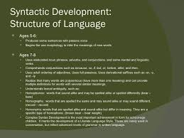 Syntactic Development Chart School Age Speech And Language Development
