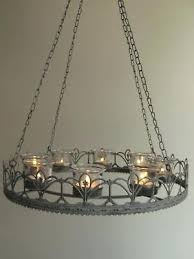 formidable 1 of 6 vintage style french grey hanging tea light chandelier candle holder metal new