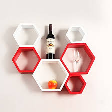 white red wooden hexagon wall shelf