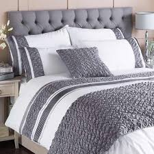 riva home macy pleated pocket duvet cover set white grey single
