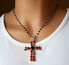 huge red c and onyx cross pendant necklace 925 sterling silver black onyx