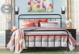 Details about Metal Bed Frame KING Farmhouse Iron Vintage Mid Century Rustic Country Style Blk