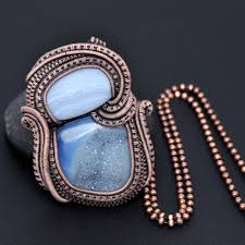 wire wrap copper necklace wire wrapping wire weaving copper jewelry handcrafted jewelry