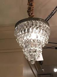 pottery barn glass drop small round crystal chandelier antique table lamps