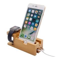 wood usb mobile cell phone charging station organizer stand with 3 usb port