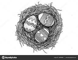 復活祭の卵鳥の巣イラスト図面彫刻 ストックベクター