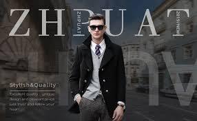 ZHPUAT <b>Men's Wool Coat</b> Thermal Pea <b>Coat Winter</b> Trench <b>Coat</b> ...