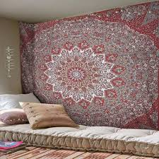 magical night maroon star mandala tapestry wall hanging hippie tapestries