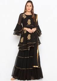Black Sharara Designs Readymade Black Georgette Embroidered Sharara Suit