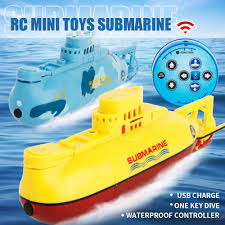 Mini Submarine Design Rc Submarine Speedboat Model 6 Channels Rc Speed Boat Mini Submarine Waterproof Design One Key Dive Toy For Kids Gifts