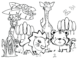 Easy Animal Coloring Pages For Adults Free Seniors Cute Of Animals