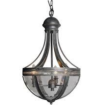 y decor 3 light distressed black chandelier with clear glass shade