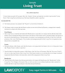 Sample Living Trust Form Revocable Living Trust Free Living Trust Forms US LawDepot 1