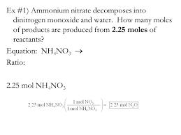 ex 1 ammonium nitrate decomposes into dinitrogen monoxide and water