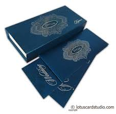 blue sweet box wedding card with silver floral design Wedding Card With Sweet Box Wedding Card With Sweet Box #49 indian wedding cards with sweet box