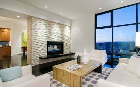 apartment living room design with modern brick fireplace mantel