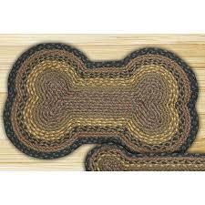 brown black charcoal large dog bone shaped braided rug
