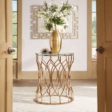foyer table. davlin modern glam round glass top metal foyer table by inspire q bold r