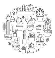 Cactus Kleurplaat Watercolor Ideas Cactus Drawing Art How To