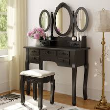tribesigns wood makeup vanity table set with mirror stool high end please upgrade full version magic