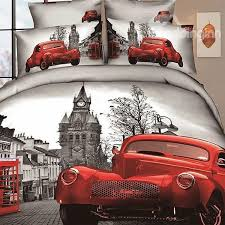 modern city with red car and street scene print 4 piece bedding sets
