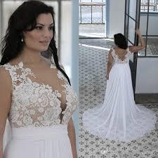 discount plus size beach wedding dresses a line sheer bateau neck