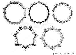 レース素材04 オシャレで可愛いフレーム 5パターンのイラスト素材
