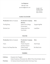 Beginner Acting Resume Sample Beauteous Resume Templates For Beginners Free Resume Template Word Resume
