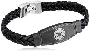 star wars disney stainless steel imperial symbol black leather id bracelet com