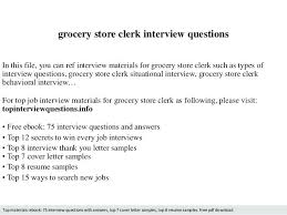 Resume For Grocery Store Grocery Store Clerk Interview Questions In