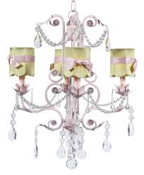 chic pink chandelier with scalloped sage shades