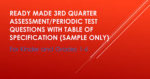 Ready Made 3rd Quarter Assessment/Periodic Test Questions with ...