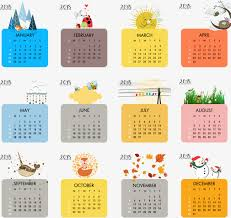 2018 calendar printable free color 2018 calendar template vector material cute calendar