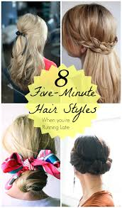 5 Minute Hairstyles For Girls Running Late 5 Minute Cute Hair Styles Mythirtyspot