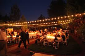 Backyard Wedding With Italian String Lights Hung Overhead And