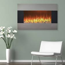stainless steel electric fireplace with wall mount and floor stand