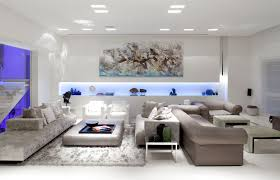 Light Living Room Natural Impressive Interior Lighting With Black Sofas On The Cream