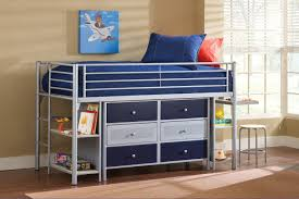 Floating Loft Bed Floating Blue Wooden Shelves Connected With Silver Steel Poles