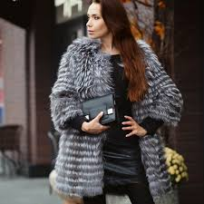 details about womens luxury coats winter fashion style silver fox fur coat jacket high quality