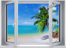 tropical palm window 2 one piece canvas l stick wall mural