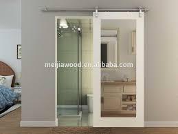 bathroom solid wood barn door with mirror