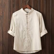 Men Linen Long Sleeve Shirt, <b>Traditional</b> Kung Fu Casual Shirt ...