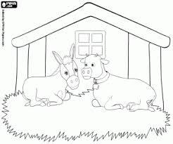 De Dieren In De Stal De Os En De Ezel Kleurplaat Kerst Desenho