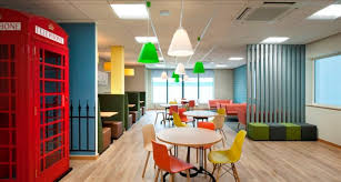 funky office designs. Delighful Office Funky Office Breakout Area With British Phone Box And Coloured Seating Intended Office Designs Y