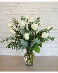 one dozen premium white roses jennie