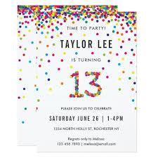 13th Party Invitations Rainbow 13 Year Old Birthday Party 13th Birthday Invitation