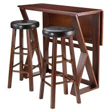 winsome trading harrington 3 piece counter height dining table set with 24 in round seat stools hayneedle