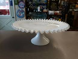 details about vintage fenton ruffled pedestal cake plate stand white milk glass silver crest