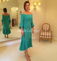 Hunter Tea Length Mother Of The Bride Dresses Off Shoulder 3 4 Long Sleeve Wedding Guest Gowns Women Prom Party Gowns Plus Size Grandmother Of Bride